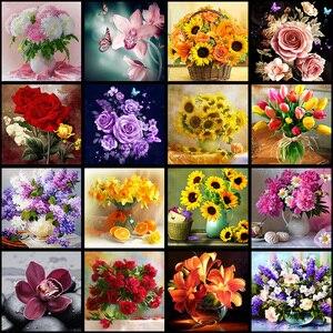 5D DIY Diamond Flower Arrangement Flower Vase Cross Stitch Diamond Embroidery Mosaic Diamond Home Decor(China)