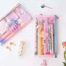 Lanzon Flamingo Shell Net yarn Pencil Zipper Bag Student Cute School Supply Stationery Storage Pouch Girl Coin Purse Makeup Case