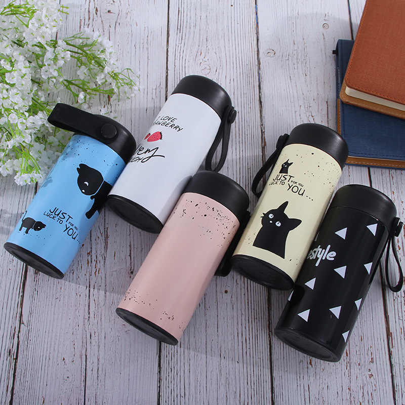 350ml Cute Cat Thermos Mug With Rope and Filter Stainless Steel Vacuum Flasks Thermal Water Bottle Students Cup Thermocup