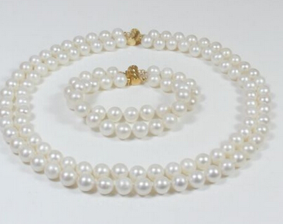 Hot sell Noble- hot sell new - a set AA 9-10mm white pink yellow Natural Fresh water pearl necklacean choose hot sell h
