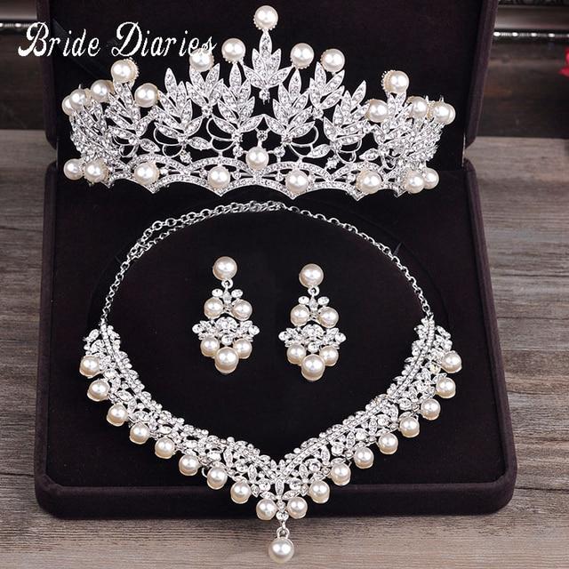 Bride Diaries Costume jewelery sets New Design Pearl Bride 3pcs Set Necklace Ear