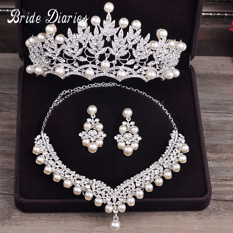 New Design Crystal Pearl Bride 3pcs Set Necklace Earrings Tiara Bridal Wedding Jewelry Set Accessories