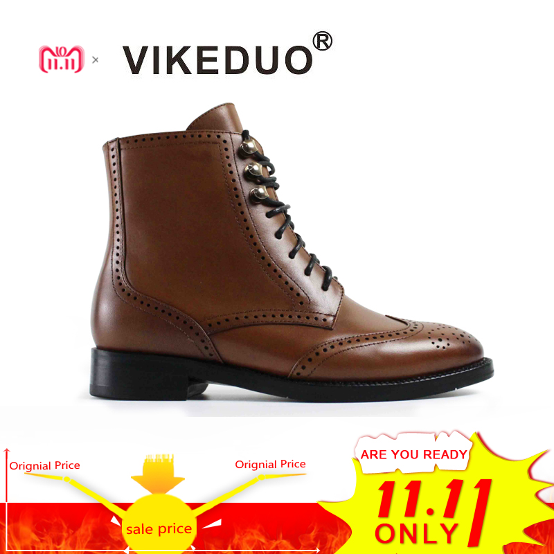 VIKEDUO Vintage 2018 Brand Classic Retro Shoes Handmade Fashion Luxury Party Dress Boots 100% Genuine Leather Snow Women Boots vikeduo 2018 classic custom handmade fashion luxury office genuine leather boots designer winter snow crocodile dress men boots