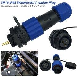 1 Pc 2 3 4 5 6 7 9 Pin IP68 SP16 Cabo Conector plug & Soquete do Conector À Prova D' Água do Sexo Masculino e Conexão de Rosca Fêmea