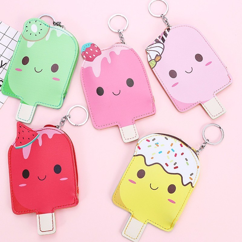 Cute popsicle women small wallet bag cartoon clutch zipper bag mini kid coin purse key ring money purse Gift For Girl