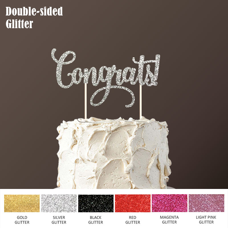 double sided gold glitter paper congrats cake topper