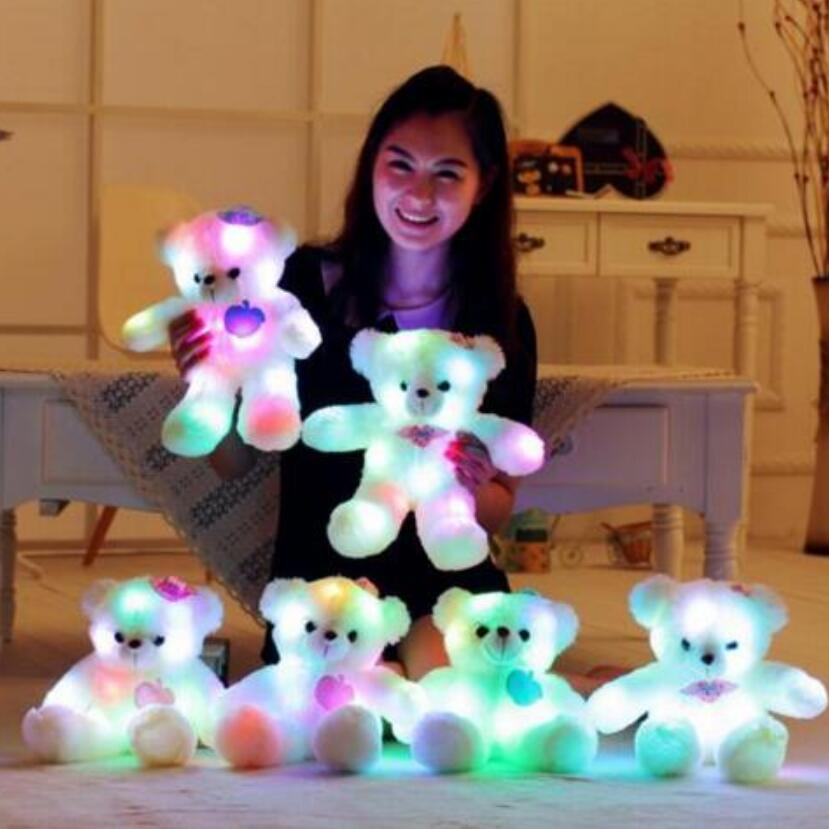 New hot 35 cm colorful glowing teddy bear luminous plush toy for Girl Children's Baby Birthday Gift Send Kids Lovely Soft Toy hot sale 8pcs lot mixed color 15cm lovely plush teddy bear small plush bear for children gift promotion gifts