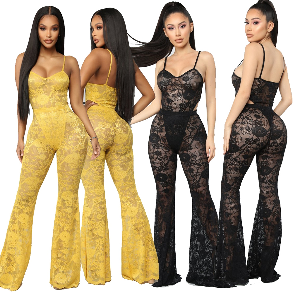 2pcs Full Lace Sexy Women Spaghetti Strap Bodysuit+ High Waist Elastic Flare Pants Set