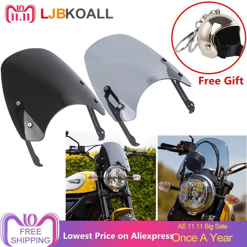 LJBKOALL ABS Motorcycle Smoke Windscreen Windshield Wind Shield Protection Flyscreen For Ducati Scrambler 2015 2016 2017 2018
