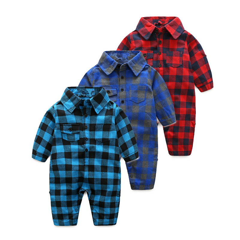Plaid-bebes-clothes-baby-clothes-long-sleeve-lapel-baby-romper-newborn-cotton-baby-costume-baby-boys-newborn-clothes-5
