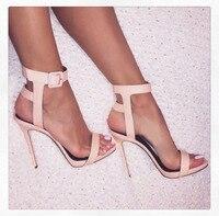 Hot vente élégant concise large cheville boucle strap sandales à talon aiguille mode couleur pure crosss sangle sandales à talons hauts