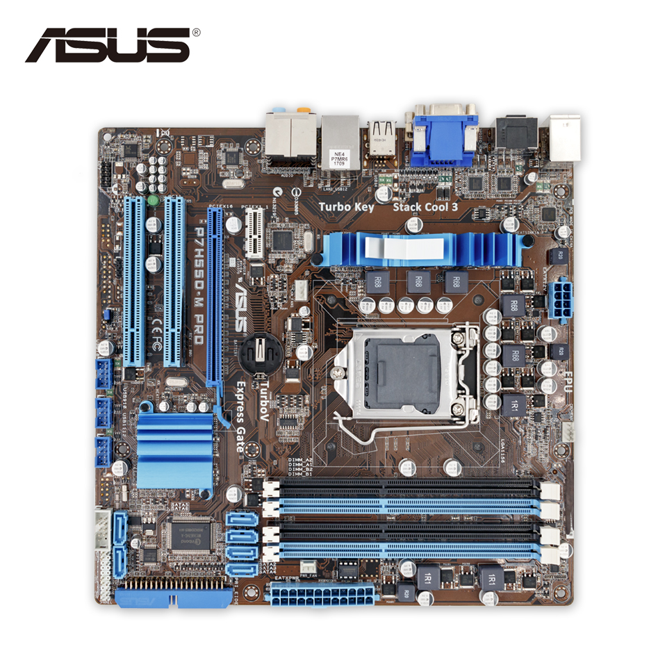 Asus P7H55D-M PRO Desktop Motherboard H55 Socket LGA 1156 i3 i5 i7 DDR3 16G uATX On Sale asus p8h67 m lx desktop motherboard h67 socket lga 1155 i3 i5 i7 ddr3 16g uatx on sale