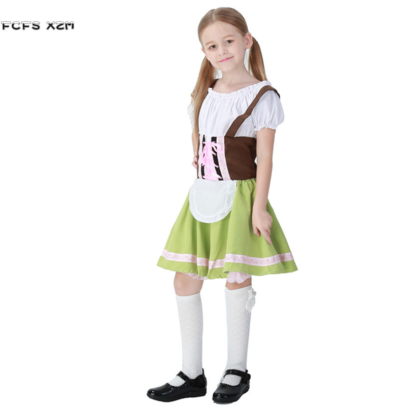 Girls Halloween Maid Costumes for Kids Children Oktoberfest Cosplays Purim Christmas Carnival stage show Masquerade party dress
