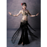 Tribal Style Belly Dance Costume 2 Pics Coins Bra Tassel Hip Scarf Long Tribal Pants 34B