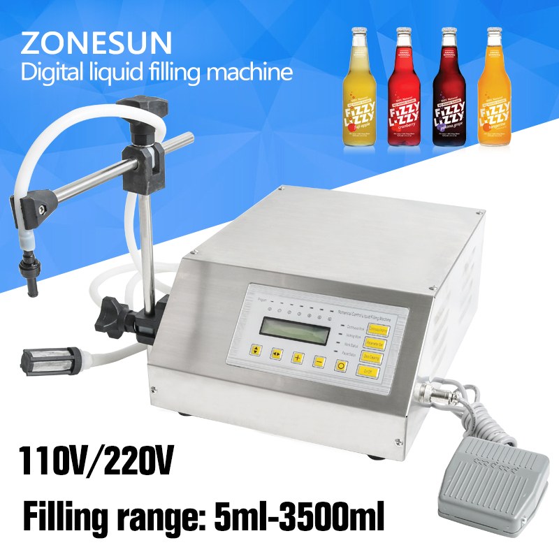 ZONESUN Digital Control Pump Drink Water Liquid Filling Machine GFK-160 5-3500ml zonesun pneumatic a02 new manual filling machine 5 50ml for cream shampoo cosmetic liquid filler