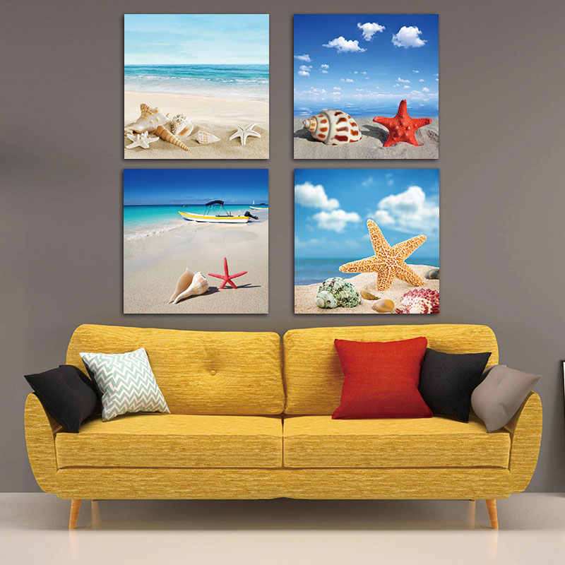 Picture canvas painting  Wall Art Modern Print Canvas Paintings Sea Beach Shell Starfish Wall Pictures For Home Decor Frameless