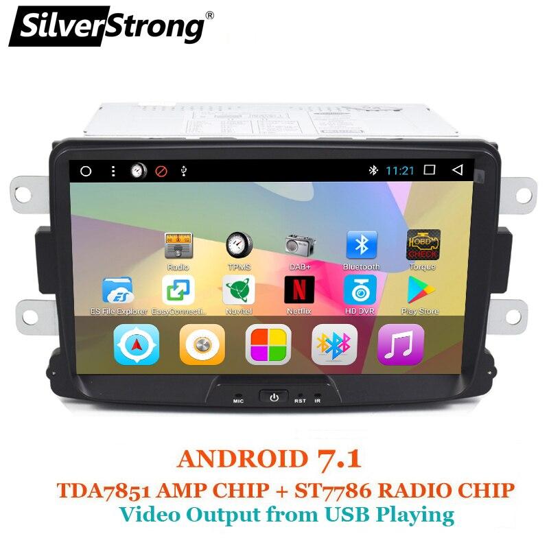 SilverStrong 1Din 8 pouce Android Quad Core De Voiture Radio GPS Pour Renault LOGAN II Duster DACIA DOKKER Dacia