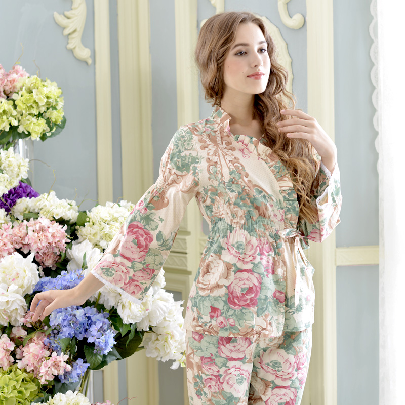 c44650ff6 2017 nueva moda de verano pijamas de las mujeres 100% tejido de algodón de  manga larga pijama para las mujeres pijama Set