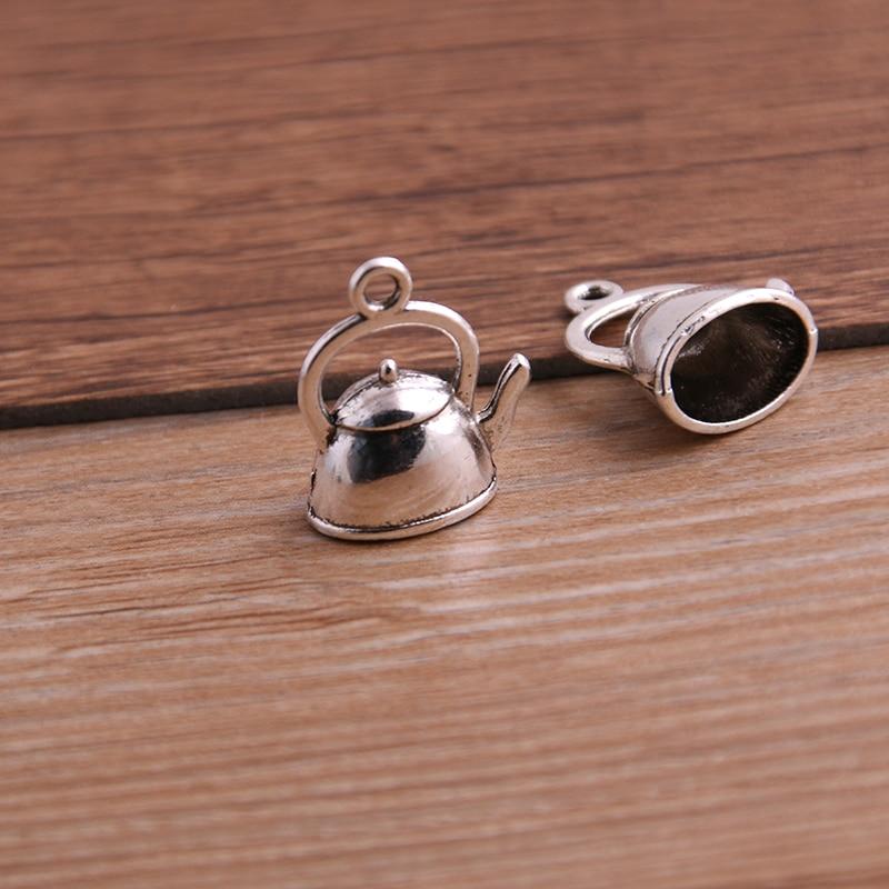 10PCS 10*17*19mm 3D Kettle Charms Teapot Pendant Two Color DIY Retro Jewelry Bracelet Necklace Charms Pendant 6