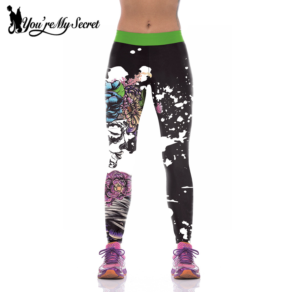 [You're My Secret]2019 Halloween Fashion High Waist Women Leggings Female Flower Girl Fitness Leggins 3D Digital Print Leggings