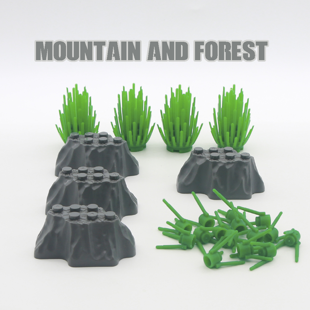 Legoed Military Accessories Building Blocks Mountain Hills Forest Jungle Tree Assemble Parts Mini MOC Bricks Toys For Children