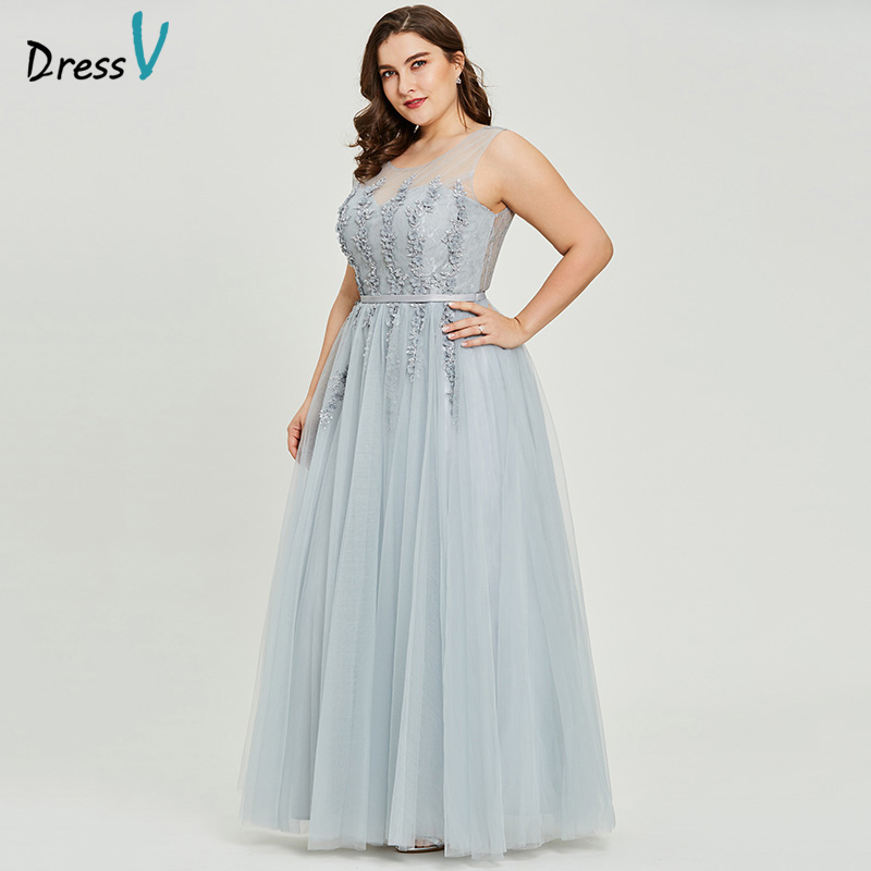 Dressv Grey V Neck Plus Size Evening Dress Elegant Ball Gown Sleeveless Beading Wedding Party Formal Dress Evening Dresses