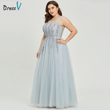 Dressv grey v neck plus size evening dress elegant ball gown sleeveless beading wedding party formal dress evening dresses(China)