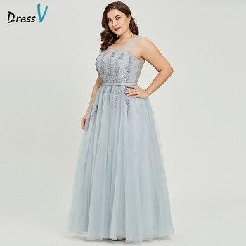 ae09449f8 Vestido gris con cuello en v talla grande vestido de noche elegante vestido  de Gala sin mangas con cuentas vestido formal de fiesta de boda vestidos de  ...