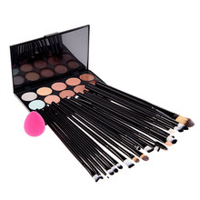 20Pcs Cosmetic Makeup Brushes Kits+ Sponge Puff + 15 Color Concealer Cream Makeup Sets Cosmetics Women Makeup Set