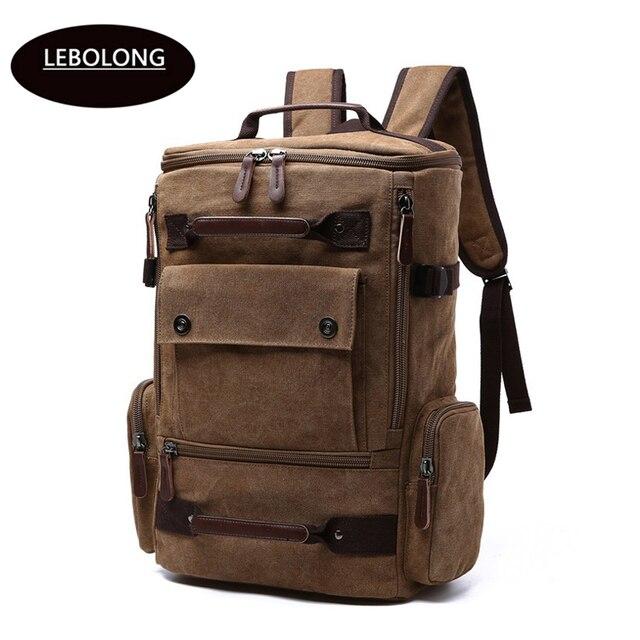2019 New Backpack Men Canvas Backpack Large Capacity Bag for Travel Backpack  35 Litre Laptop Backpack Vintage men s trip mochila 14b9e2eaa3168