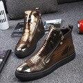Estação europeia tendência de couro botas Martin dos homens de cabeça redonda selvagens sapatos de salto alto-sapatos masculinos personalidade no tubo de botas de salto alto