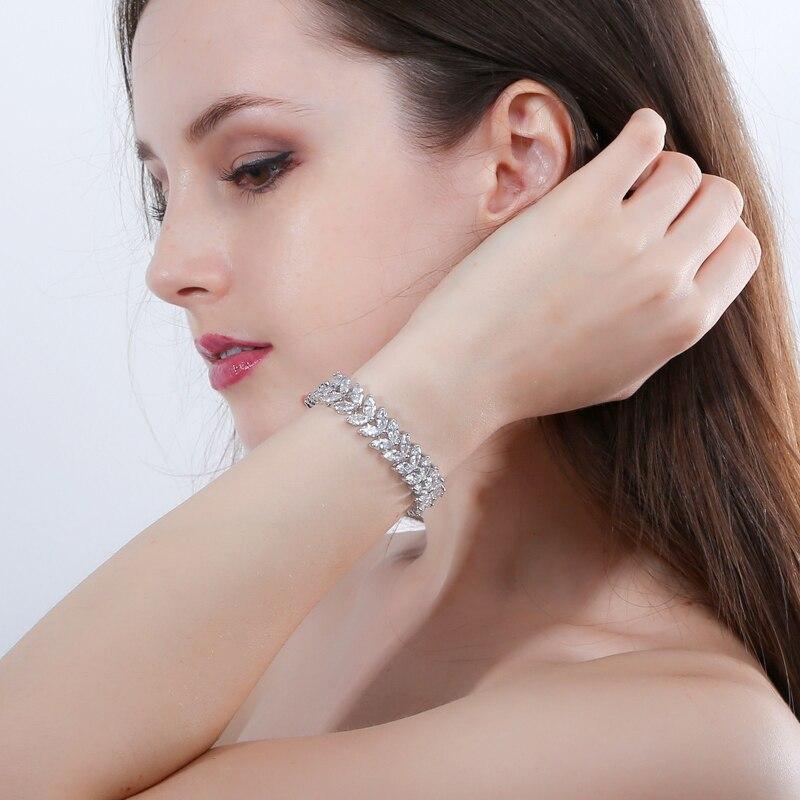 ANGELCZ 18 New Design Women Dress Jewelry Leaf Cubic Zirconia 925 Sterling Silver Strand Bracelet With Red Black Stone AB007 3