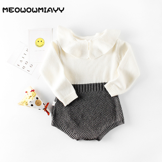 be31dbda0e9 Baby bodysuit girl clothes 3 colors 2018 autumn baby girl onesie knit wool newborn  bodysuit long sleeve roupa bebe