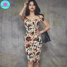 2019 summer Korean version of the sleeveless deep V-neck sexy strapless flower print bag hip slim dress Knee-Length  Zippers цены