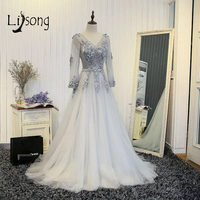 Abendkleider 2017 Gray Appliques Evening Dresses With Full Sleeves Elegant Tulle Evening Gowns Abiye Vestido De Festa A163