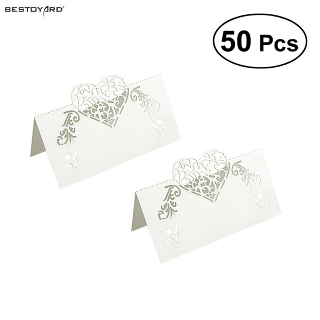 50pcs Laser Cut Place Cards Wedding Name Guest Card Party Table Decoration