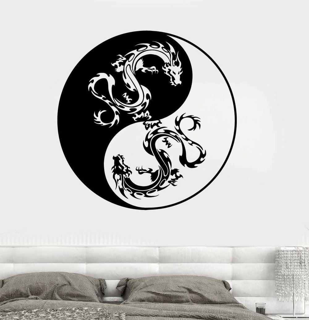 Mandala wall sticker home decal buddha yin yang floral for Decoration murale yin yang
