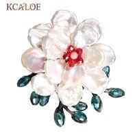 KCALOE Fine Pink Quartz Stone Flower Brooch Fashion Handmade Natural Semi Precious Stones Dress Hijab Pin Brooches For Women