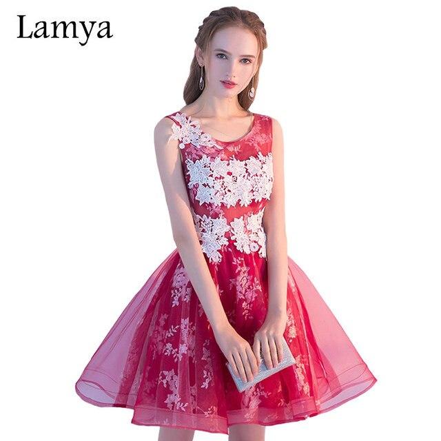 Lamya 5 Colores Corto Tul de Encaje Balón vestido Vestido de Noche ...