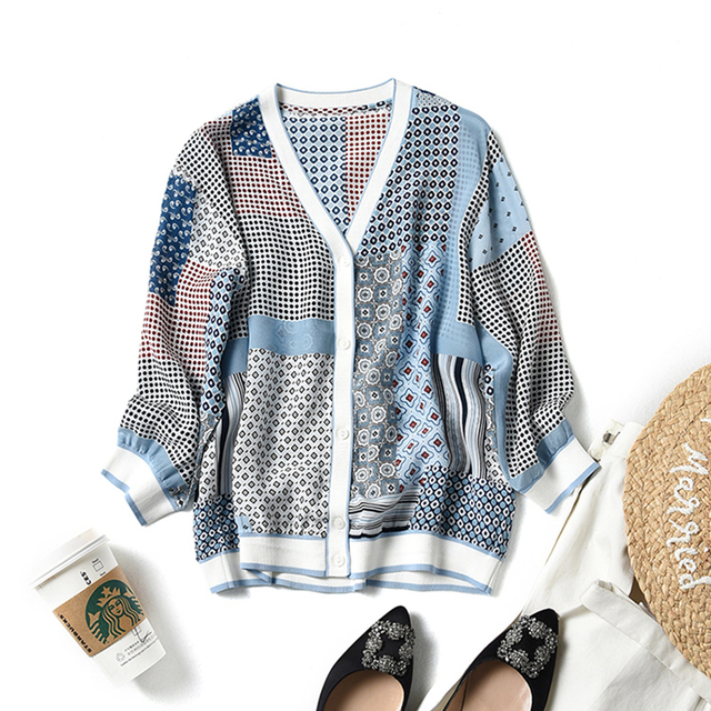 Blouse Women Cardigan 100% Silk Printed Patchwork Design V Neck Three-quarter Sleeves Casual Sunscreen Clothing Fashion 2019
