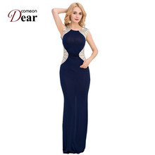 RJ80296 Comeondear Bodycon Floor Length Maix Dress Sleeveless Evening Party Formal Sexy Dresses Cheap Split Party Women Dresses