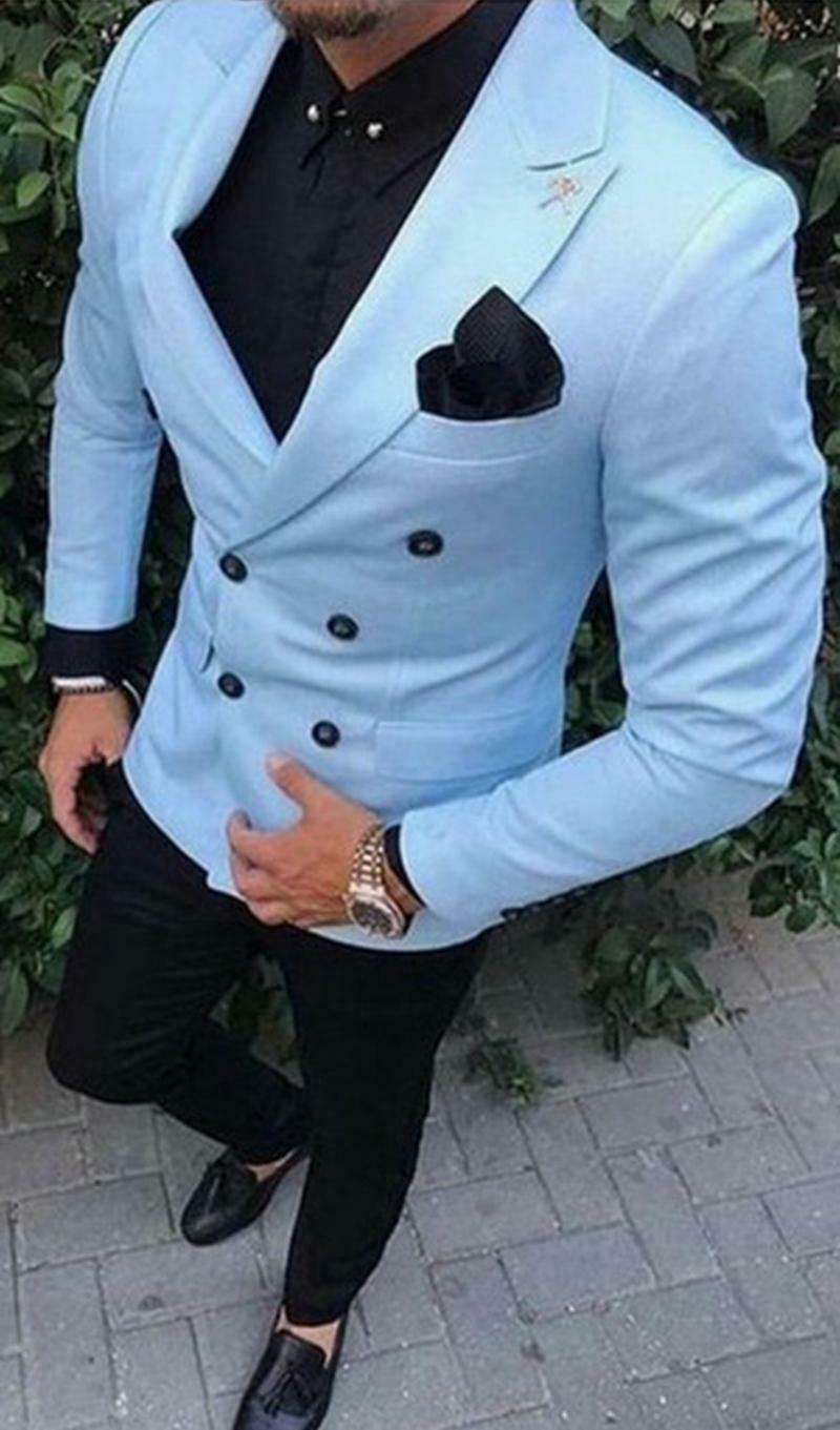 Double Breasted Men Suits Sky Blue Jacket Beach Wedding Suits Mens Groom Tuxedos