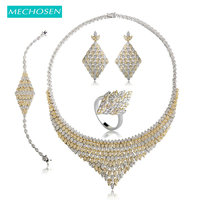 MECHOSEN Paved Setting Zirconia Square Choker Necklace Earrings Ring Bracelet For Women Nigerian Bridals Wedding Jewelry Sets