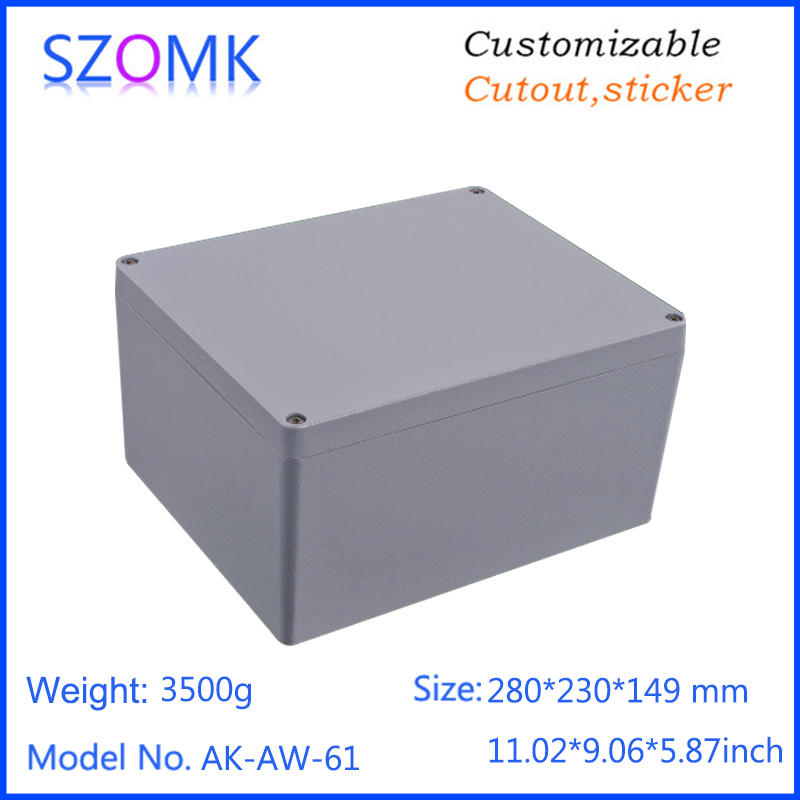 1 piece, 280*230*149mm die casting aluminium waterproof enclosure for pcb design szomk amplifier aluminum junction box 1 piece free shipping powder coating aluminium junction housing box for waterproof router case 81 h x126 w x196 l mm