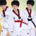 Blanco Manga Larga Niños Judo Kimono Ropa Niños Trajes de Rendimiento Niños Niñas Trajes de Taekwondo Karate Competencia