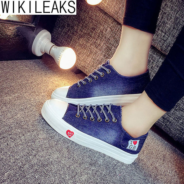 Wikileaks 2016 Hot Sale Women Casual Washable Denim Canvas Shoes Woman Solid Lace-Up Student Shoes Zapatillas Deportivas Mujer