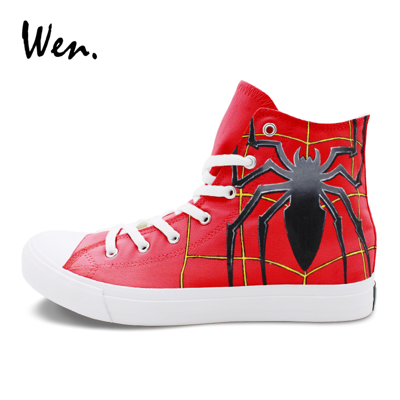 Wen Men Women Red Painting Canvas Flat Design Spider Hand Painted Shoes High Top Sneakers Women Men Plimsolls Big Size 46-49 aquazzura зеленые сатиновые слиперы crystal spider flat