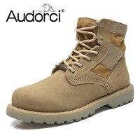 Audorci 2018 Cow Suede Leather Men Ankle Boots Winter Warm Lace Up Men S Shoes Spring