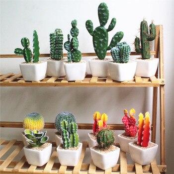 92421345b Flor Artificial minimalista nórdico estilo de simulación de la planta verde  en maceta tortuga sale Cactus hierba casa decoración planta