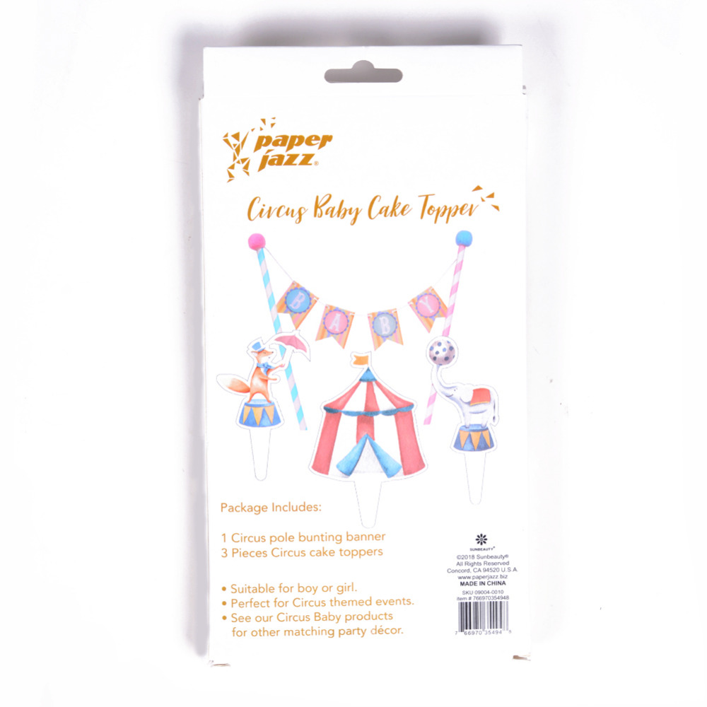Vintage Circus Baby Shower Cake Topper Bunting Kit Cupcake Topper Boy Girl Kids Carnival Elephant Fox Animal Tent First Birthday in Party DIY Decorations from Home Garden